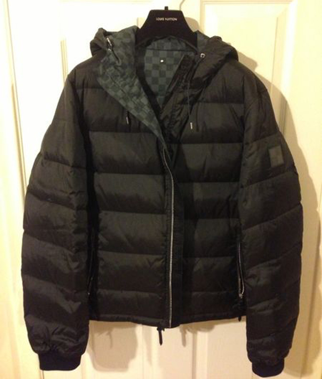 meek mill wearing louis vuitton graphite damier reversible down jacket